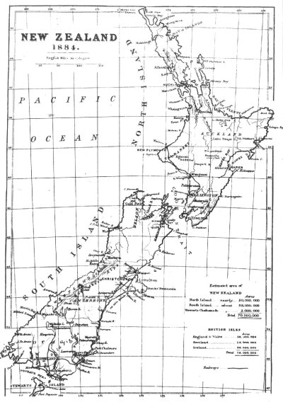 Map of New Zealand, 1884